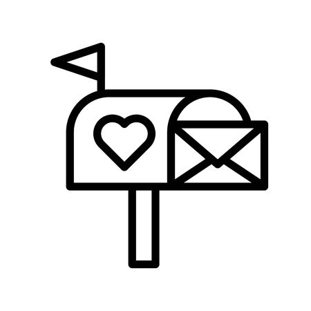 Mailbox vector, Valentine and love related line style icon