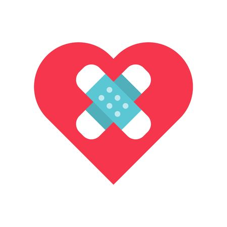 Bandage on heart vector, Valentine and love related flat style icon