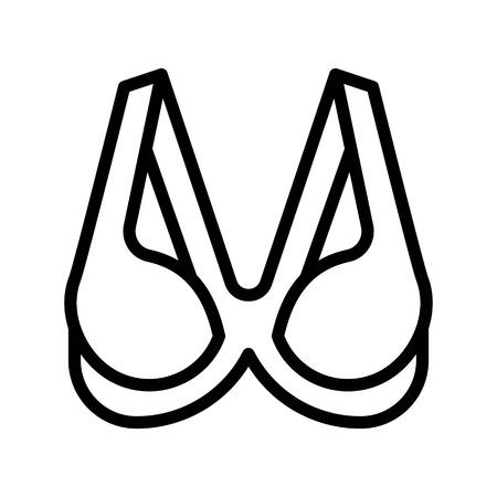 Bra or Brassiere vector illustration, line design icon