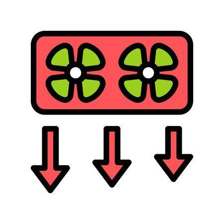 Window fan vector illustration, filled design icon editable outline