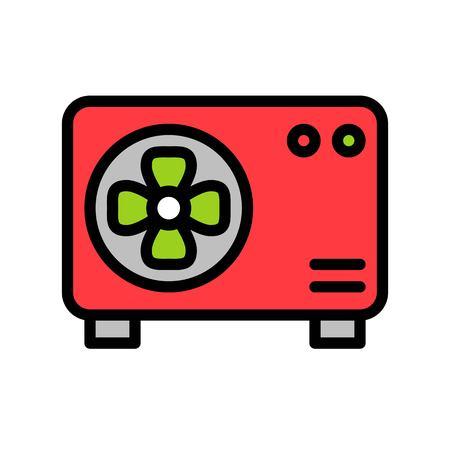 Air conditioner compressor unit vector illustration, filled design icon editable outline