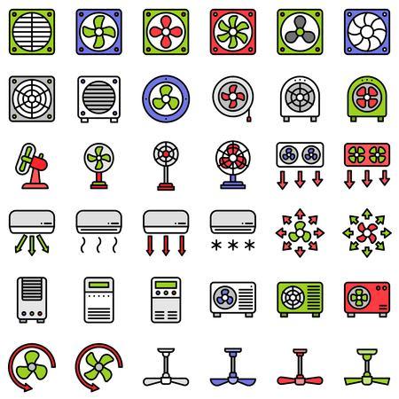Fan related vector illustration set, filled design icon editable outline