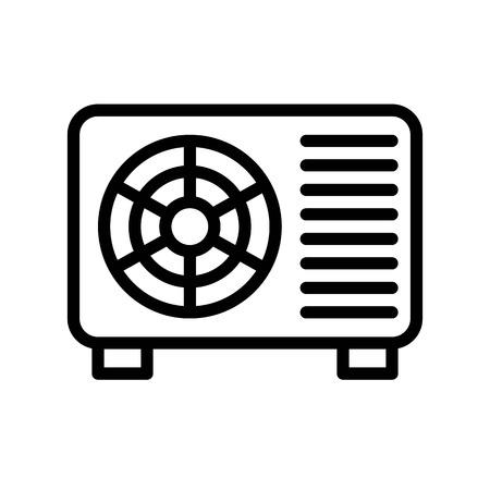 Air conditioner compressor unit vector illustration, Isolated line design icon