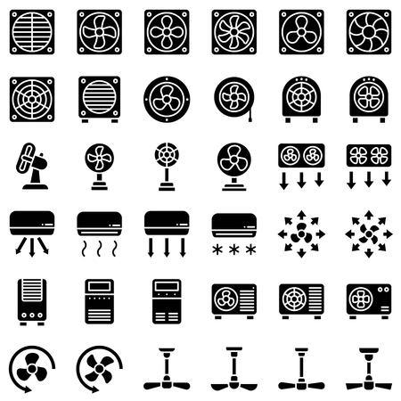 Fan related vector illustration set, solid design icon Иллюстрация