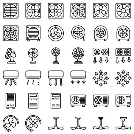 Fan related vector illustration set, line design icon