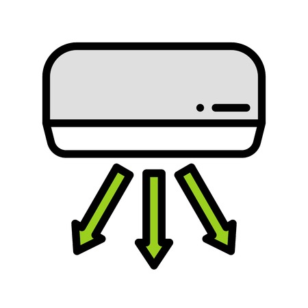 Air conditioner vector illustration, filled design icon editable outline