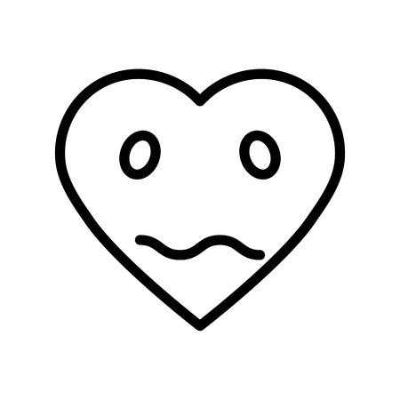 Heart emoticon vector illustration, line design icon editable outline