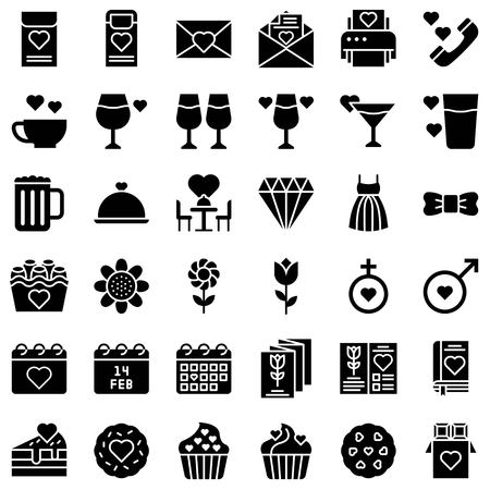 Valentine related vector icon set, solid design Vectores