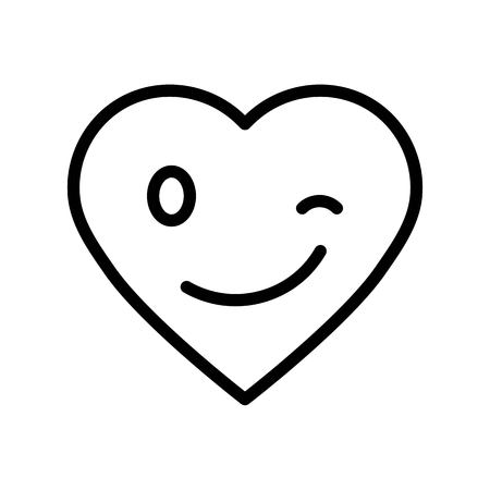 Heart emoticon vector illustration, line design icon editable outline Çizim