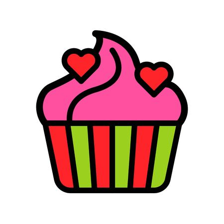 Cupcake vector illustration, filled style icon editable outline Çizim