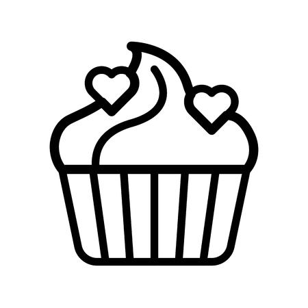 Cupcake vector illustration, Isolated line design icon Çizim