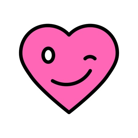 Heart emoticon vector illustration, filled design icon editable outline