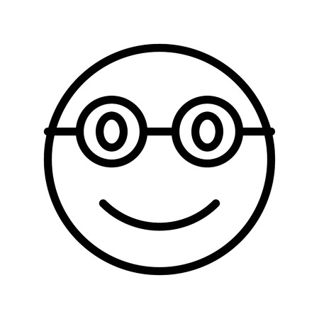 Smiling face with glasses vector illustration, line design icon editable outline