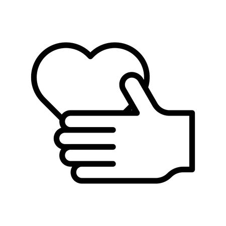 Heart in hand vector illustration, line design icon editable outline Çizim