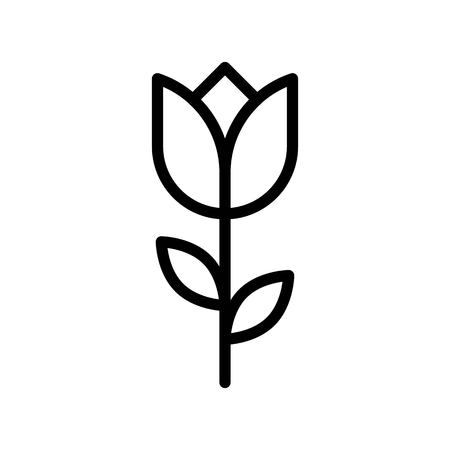 Flower vector illustration, Isolated line design icon Çizim