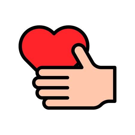 Heart in hand vector illustration, filled design icon editable outline