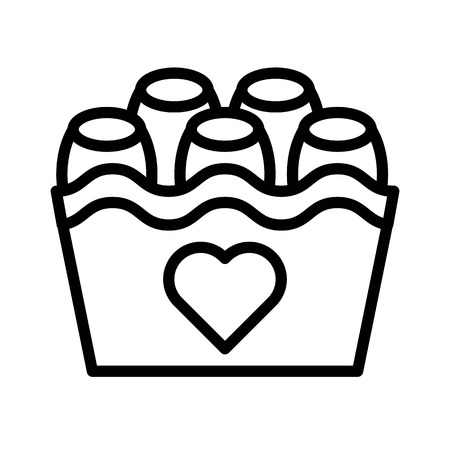 Chocolate basket vector illustration, Isolated line design icon