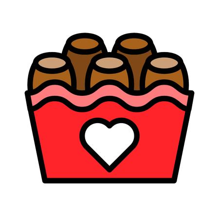 Chocolate basket vector illustration, filled style icon editable outline