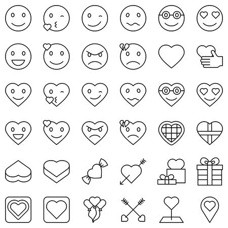 Emoticon and love related vector icon set, line design icon