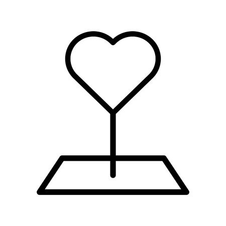 Heart pin vector illustration, line design icon editable outline Çizim