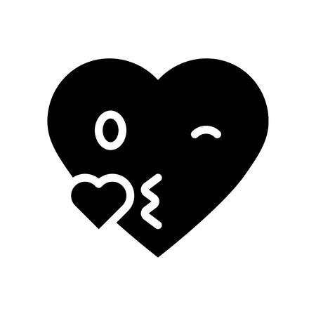 Heart emoticon vector illustration, Isolated solid design icon Vectores