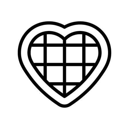 Chocolate heart vector illustration, line design icon editable outline