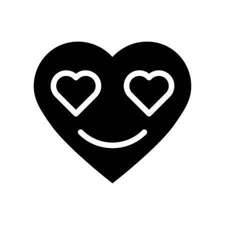 Heart emoticon vector illustration, Isolated solid design icon Ilustrace