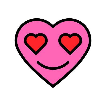 Heart emoticon vector illustration, filled design icon editable outline