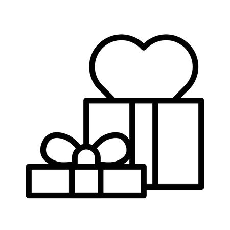 Gift box vector illustration, line design icon editable outline