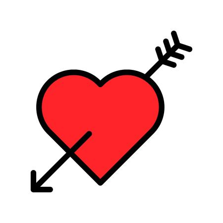 Heart with arrow vector illustration, filled design icon editable outline