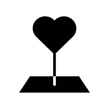 Heart pin vector illustration, Isolated solid design icon