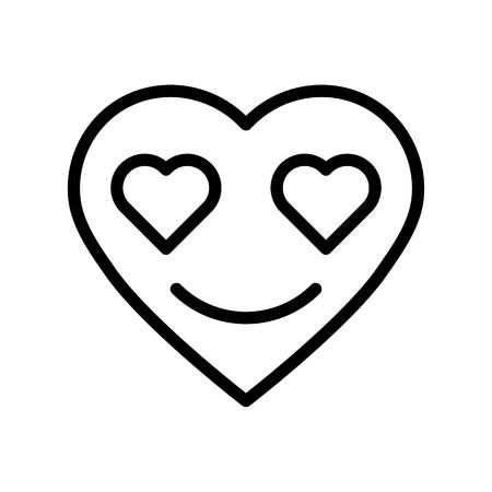 Heart emoticon vector illustration, line design icon editable outline Stock Illustratie
