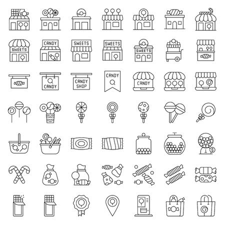 Sweet shop related vector icon set, line design