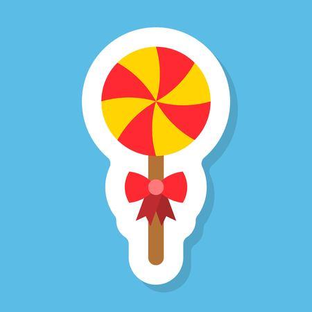 Lollipop sticker vector, Isolated flat design icon