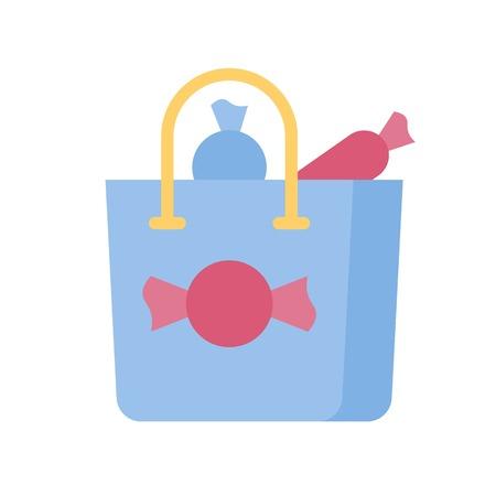 Shopping bag vector illustration, Isolated flat design icon Ilustração