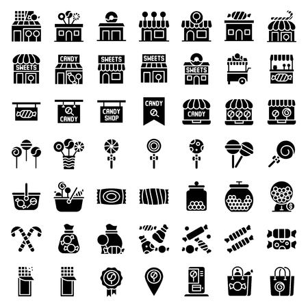 Sweet shop related vector icon set, solid design Illustration