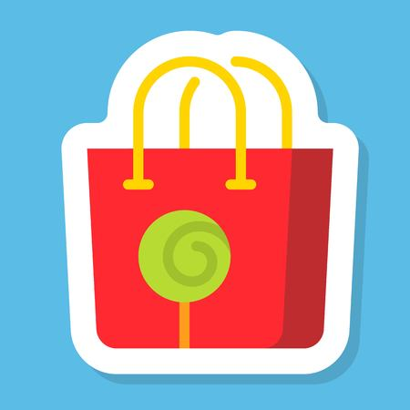 Shopping bag sticker vector, Isolated flat design icon