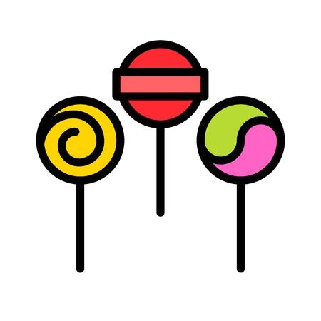 Lollipop vector illustration, filled style icon editable outline Ilustração