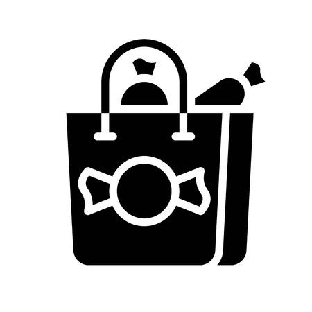 Shopping bag vector illustration, Isolated solid design icon Ilustração