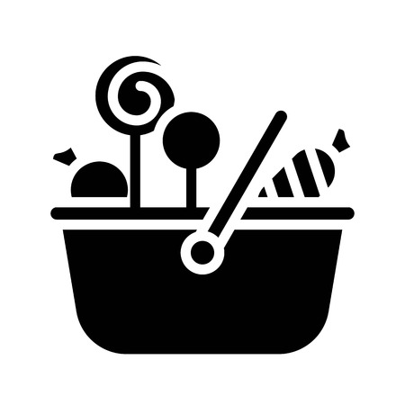 Sweet basket vector illustration, Isolated solid design icon