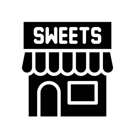 Sweet shop vector illustration, Isolated solid design icon