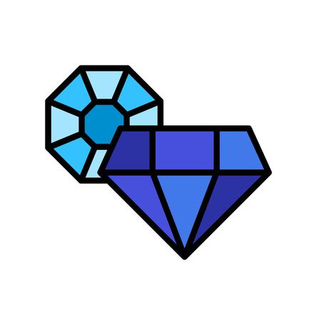 Gemstone vector icon, filled design editable outline