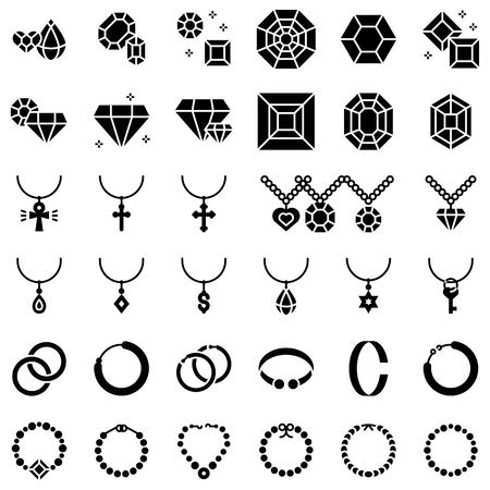Accessories and Jewelry vector icon set, solid design Çizim