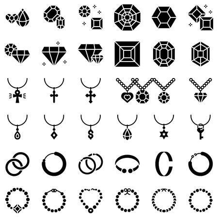 Conjunto de iconos de vector de accesorios y joyas, diseño sólido