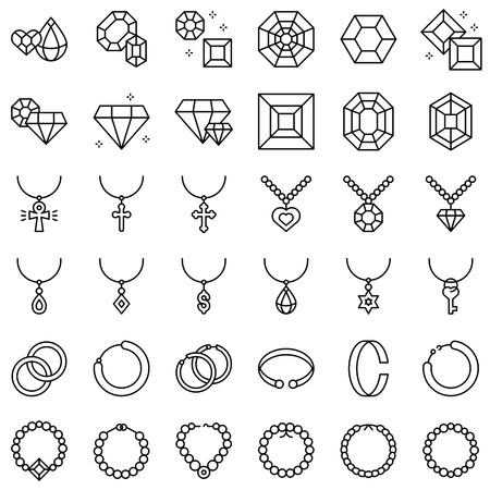 Ensemble d'icônes vectorielles accessoires et bijoux, conception de ligne Vecteurs