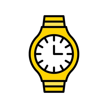 Watch vector icon, filled design editable outline Ilustración de vector