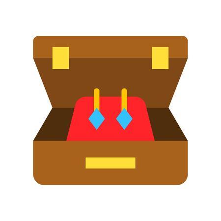 Earring vector illustration, Isolated flat design icon Ilustração