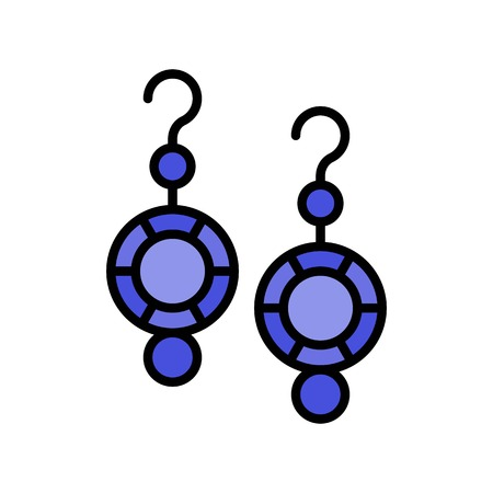 Earring vector icon, filled design editable outline Ilustração
