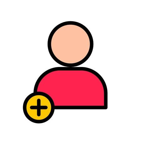 Add user vector, Social media filled style editable stroke icon