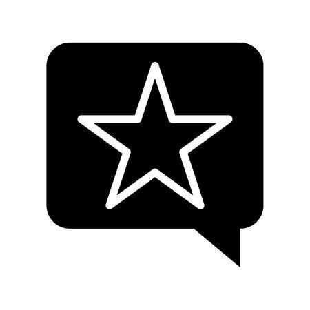 Star in speech bubble vector, Social media solid design icon